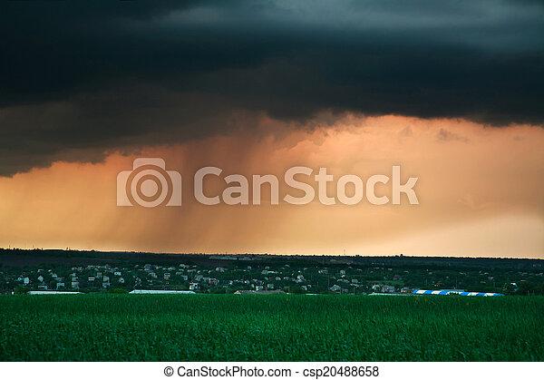Storm cloud with landscape