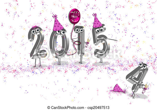 Clipart of new year 2015 humor - Humorous 2015 New Year with party ...