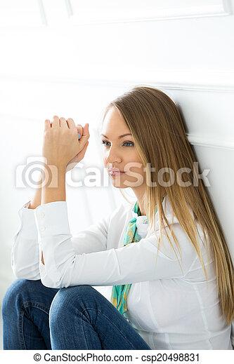 Beautiful, pensive woman - csp20498831