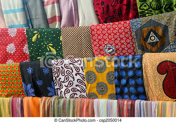Stock Photo of Colorful African fabrics - Colorful Kangas on ...