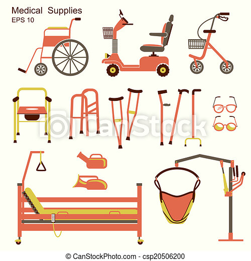 Vector clipart of medical hospital equipment for disabled House plans for disabled people
