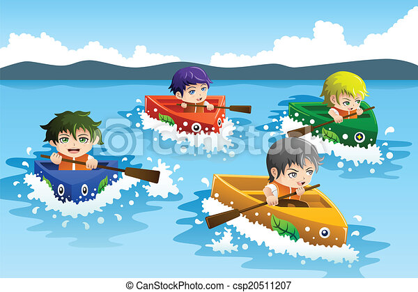 Vector Clipart of Kids in a boat race - A vector illustration of happy ...