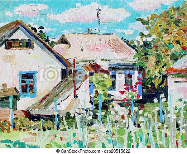 incomum, óleo, impressionismo, lona, modernos, u, quadro, original - csp20515822