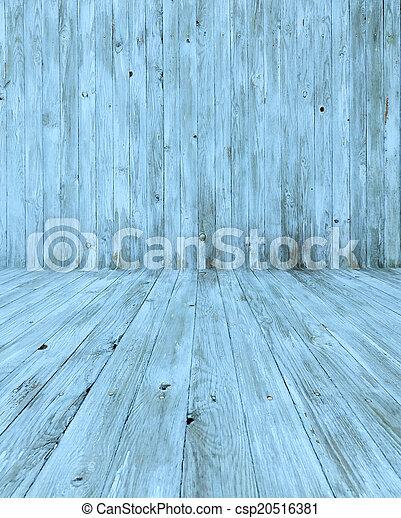 Empty Blue Wooden Room