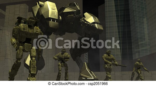 mech walker and drone platoon - csp2051966