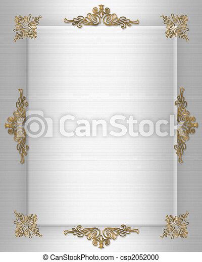 Wedding invitation gold on satin  - csp2052000