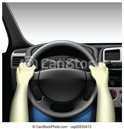 vector clip art of car driver car interior with dashboard and hands of driver csp20533413. Black Bedroom Furniture Sets. Home Design Ideas