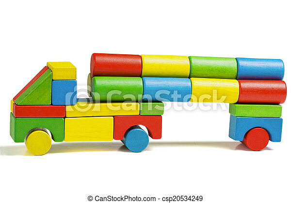 toy car, multicolor truck wooden blocks transportation cargo - csp20534249