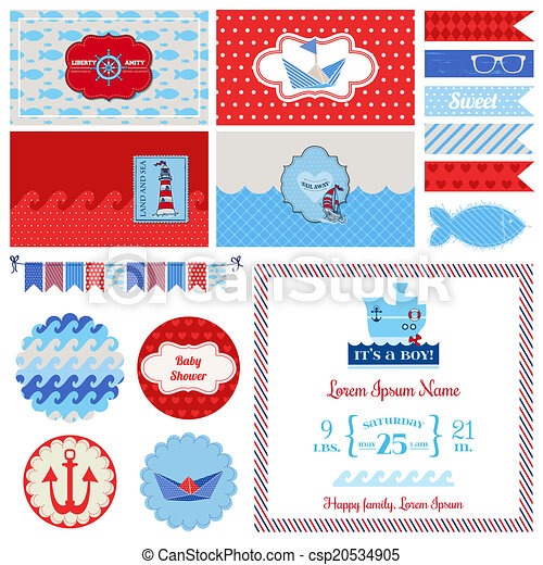Baby Shower Nautical Set - for Party Decoration, Scrapbook, Baby Shower - in vector - csp20534905