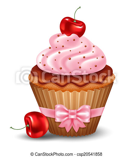 clipart vector of cherry cupcake with cream and chocolate vector csp20541858 search clip sundae clipart birthday sunday clipart / quotes