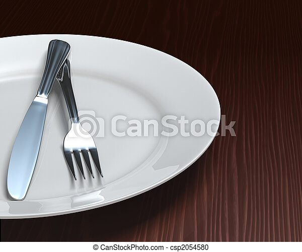 Clean plate & cutlery on dark woodgrain table - csp2054580