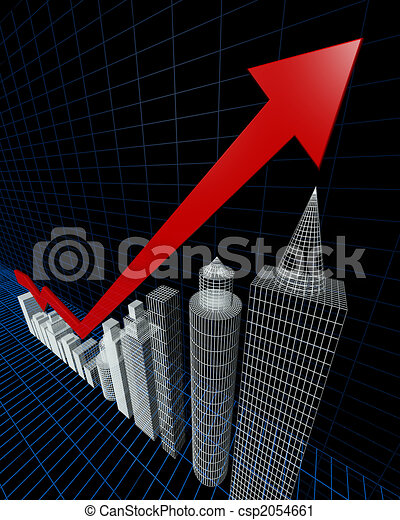 Property valuation chart arrow pointing up to the tallest building - csp2054661