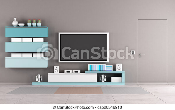 Clipart Of Colorful Living Room With Tv Stand Cabinet And Close Door Csp20546910 Search Clip