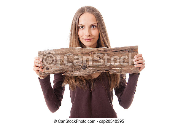 woman holding old wooden board - csp20548395