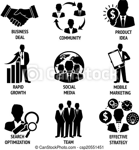 Clipart Vector Of Business And Management Icons Set