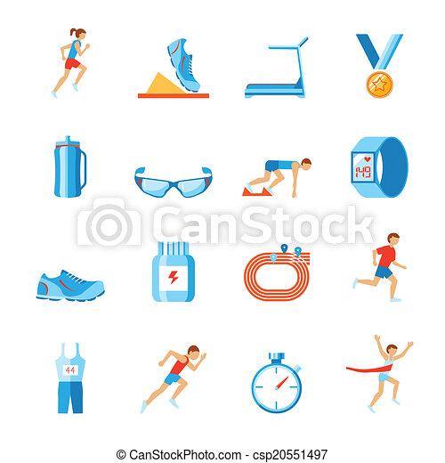 活动, 套间, 放置, 健身, 衣服, 鞋子, 跑的人, 图标, 隔离, 矢量