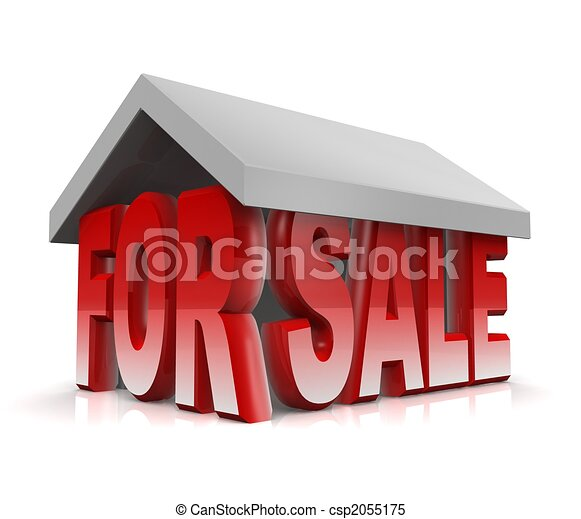 Property and house for sale concept 3d illustration - csp2055175