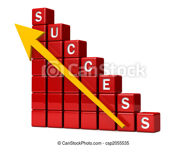 Financial success chart with arrow pointing up - csp2055535