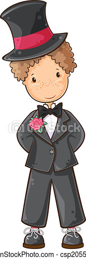 Clip Art Vector of Cartoon groom - Cartoon illustration of ...