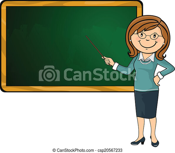 Vectors of Teacher and blackboard - Teacher with his wand ...