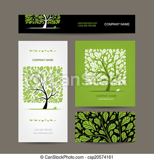 Business cards design with love tree - csp20574161