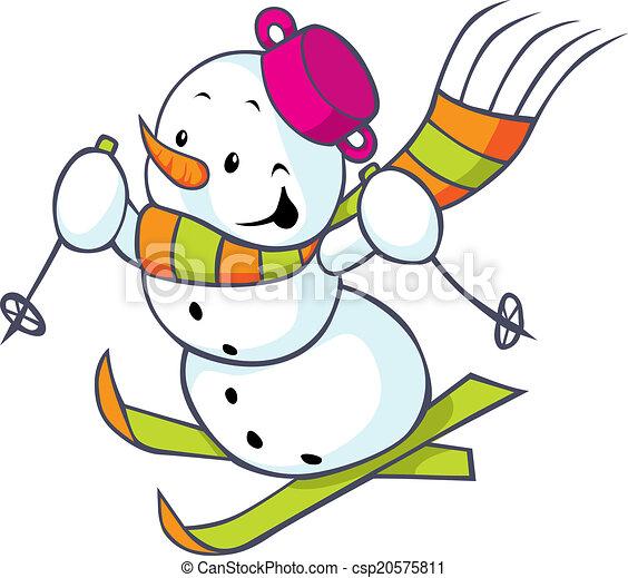 Clip art vecteur de gai bonhomme de neige skis gai bonhomme de neige sur csp20575811 - Clipart bonhomme de neige ...