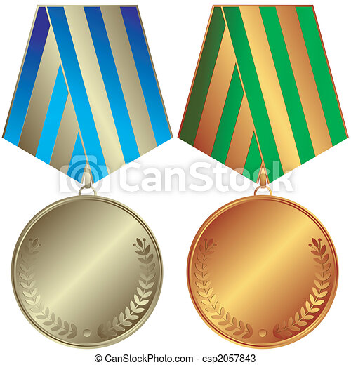 Silvery and bronze medals - csp2057843