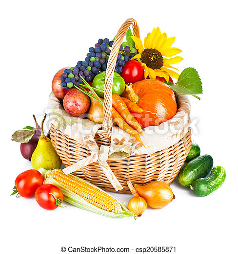 autumnal harvest vegetables and fruits in basket - csp20585871