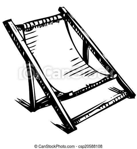 Clipart Vecteur de bois, pliant, chaise, salon, repos - main, dessin ...