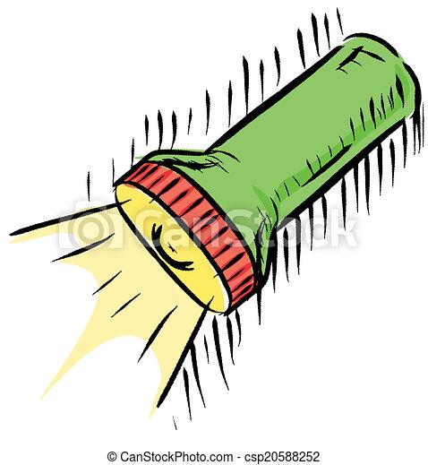 Taschenlampe clipart  Clipart Vektor von taschenlampe, ikone - Hand, zeichnung, sketch ...