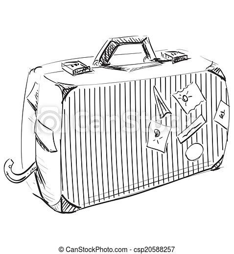 Vecteur clipart de voyage valise hand dessin sketch - Dessin de valise ...