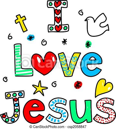 Stock Illustrations of i love jesus - I LOVE JESUS decorative text message isolated ...
