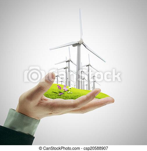 Wind turbine in hand - csp20588907