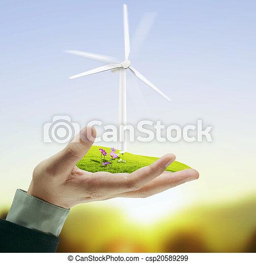 Wind turbine in hand - csp20589299