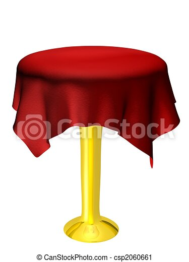 empty table with red tablecloth - csp2060661