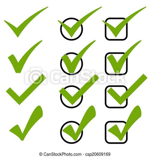 Set of green checks - csp20609169