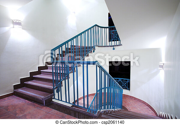 Stairway in hotel and lobby - csp2061140