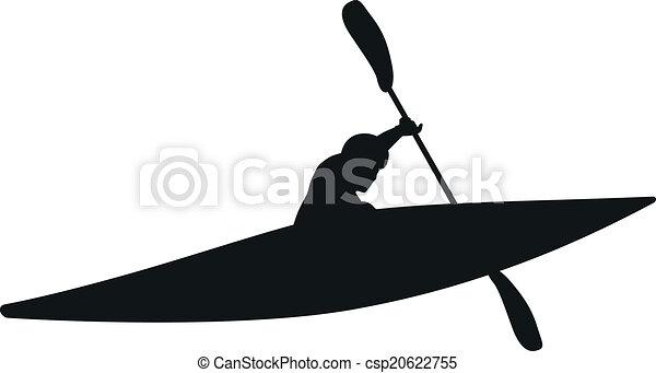 Vector - Kayaker Silhouette - csp20622755