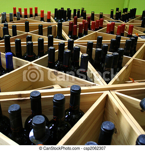 shelf with wine bottles - csp2062307