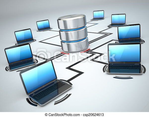 Database storage and laptops. Networking concept - csp20624613
