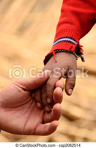 hand of father and son in south america, peru - csp2062514