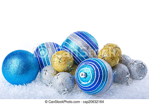 Silver Christmas baubles - csp20632164