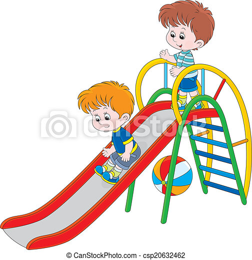 ... Kids on a slide - Little boys sliding down on a playground