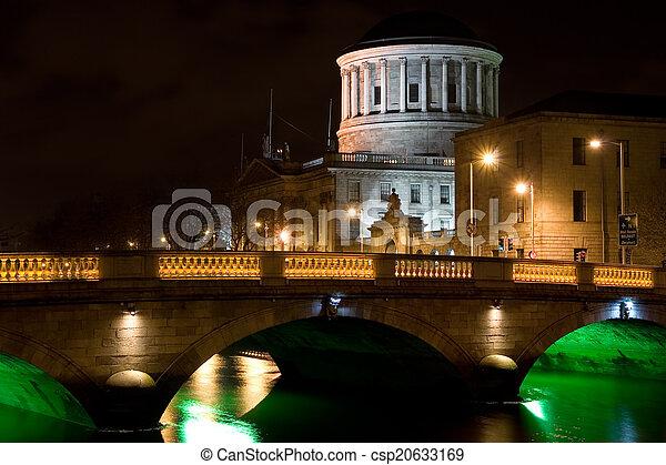 City of Dublin at Night in Ireland - csp20633169
