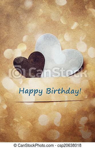 Birthday card with hand-crafted hearts - csp20638018
