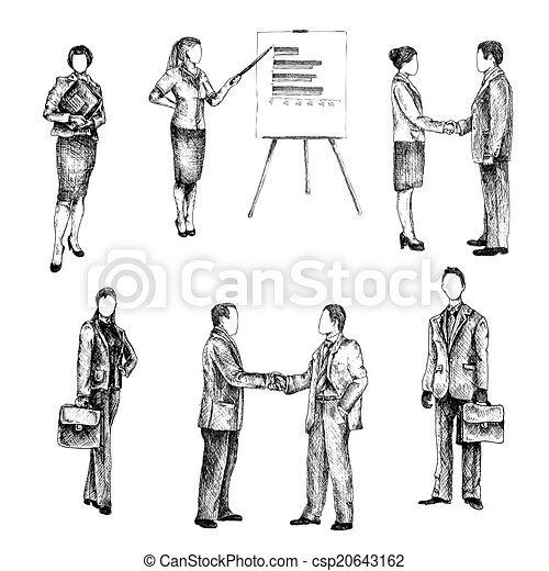 Busy People Clipart Business People Sketch Set