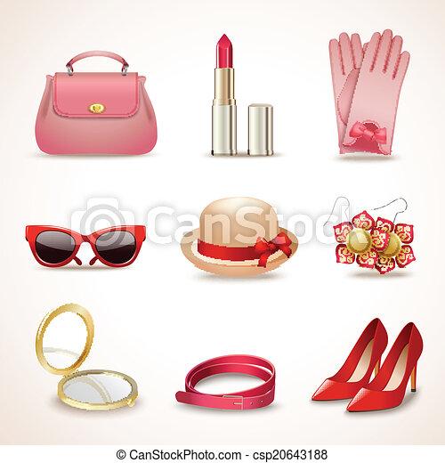 Vector , mujer, accesorios, icono, Conjunto