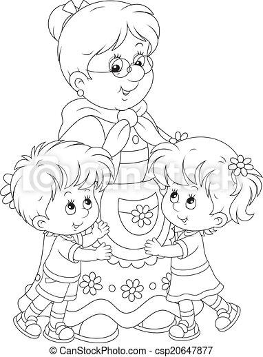 Vektoren Illustration Von Sie Enkelkinder Oma