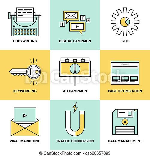 Digital marketing and seo optimization flat icons - csp20657893