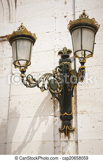 Antique outdoor lamp in green and golden tone